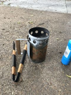 Charcoal Starter + Grill Prongs