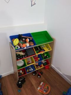 Toddler toy bin and toddler bed