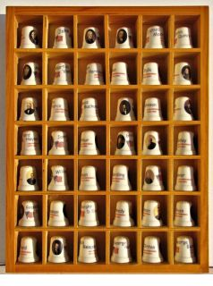 Lot of 42 Thimbles- United States Presidents collection with display case