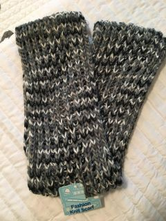 Gray, black, white sequined infinity Scarf