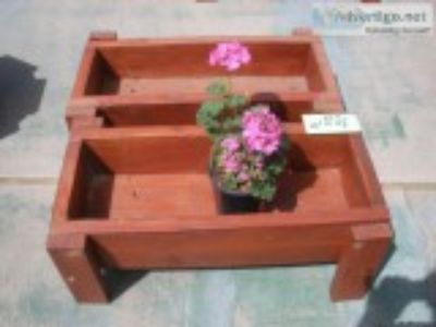 Regular and wide weather stained planters