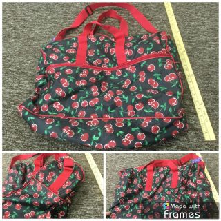 Adorable black and cherries weekend size bag, in GUC with very light wear, $5.00