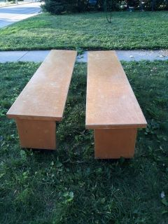 5.9 ft wood benches for farm table