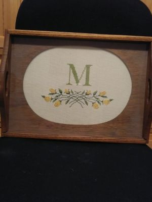 11x14 wooden initial M tray.