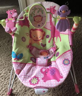 New Bright Start Pretty in Pink Sweet Safari Infant/Baby Bouncer Plush Cradling Vibrating Seat/Chair