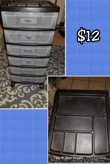 Rolling plastic storage drawers with top organizer