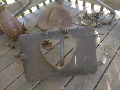 """Antique """"Heart Of The Home"""" Cast Iron Furnace Wood Burning Stove Door"""