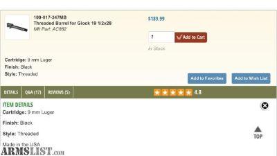 For Sale: NIB SilencerCo Glock 19 threaded Barrels