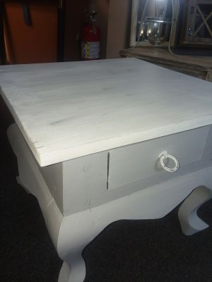FRESHLY CHALK PAINTED N DISTRESSED SMALL SOLID WOOD TABLE WITH DRAWER