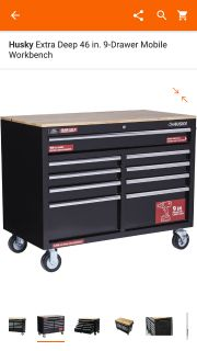 "Husky 52"" rolling tool box workbench"