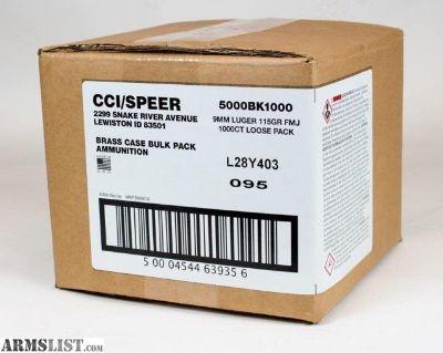 For Sale: CCI Blazer Brass 9mm 115gr FMJ 1,000 rds Bulk Pack 5000BK1000