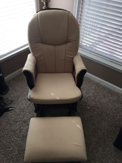 Beige Shermag Glider and Ottoman