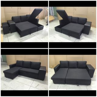 """Brand new 3 seater European style sofa bed with storage chaise and custom foot stools- 87""""w x 57.5 chaise 32""""deep 34""""tall free delivery"""