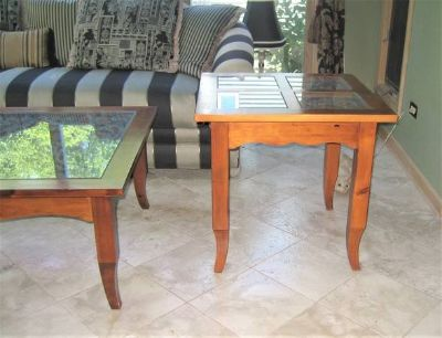 Wood, Glass & Wrought Iron End Table