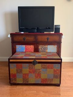 Antique tv stand and matching storage coffee table
