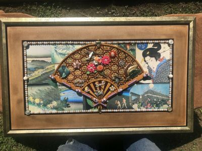 Huge Hand Made One of a kind mixed media Vintage Jewelry Art