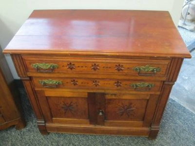 Beautiful Antique Eastlake Spoon Carved Commode Cabinet - Delivery Ava
