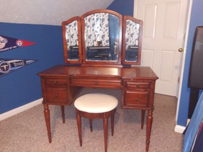 Antique makeup vanity with stool