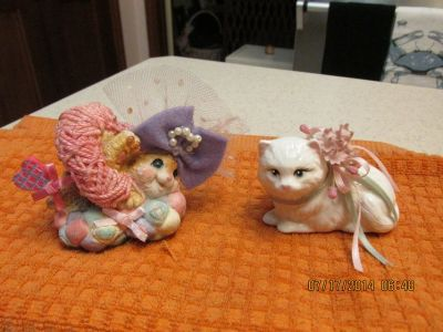 2 Captivating Cat Figurines -- One Porcelain -- One Resin