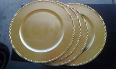 Set of 4 Gold Charger Plates