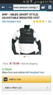 60 lb. MIR short style weighted vest.