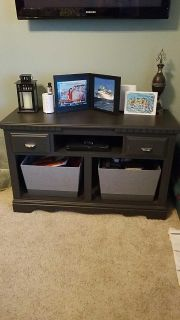 Solid oak dresser converted to tv stand