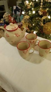 """Ivory & Red Chicken Detail Tea Pot (6"""" Height) & 3 Cups"""