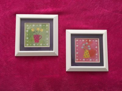 Very cute framed art! Each piece is approximately 6x6. $10 for the pair.
