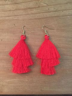 Red fringe earrings. New - never worn. About 3 long. $10. Cross posted.