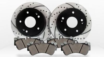 Purchase Rear Kit Premium Performance Drilled/Slotted Brake Rotors and Ceramic Brake Pads motorcycle in Elk Grove Village, Illinois, United States, for US $109.86