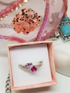 Sterling Silver Ring Pink and Ruby