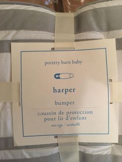 TWO Pottery Barn crib bumper and skirt Twins