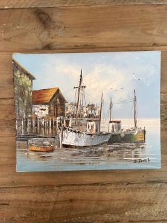 Painted Canvas Print - Fishing Port