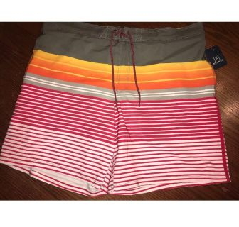NWT George Mens Striped Swim Trunks Above Knee 8 Inseam, Size 3X (48-50)