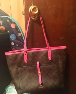 Authentic brown and pink coach tote baggy