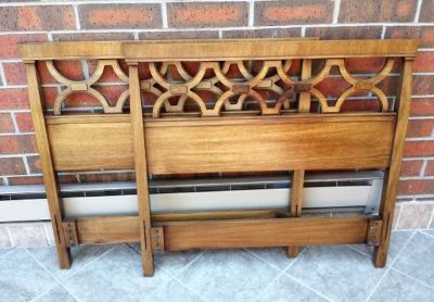 Two Vintage Drexel Headboards Twin Bed Wood Mid Century