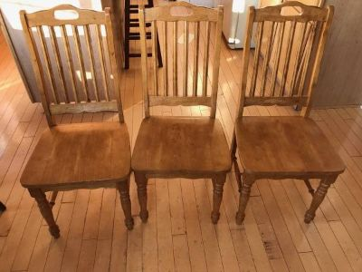 3 Lightwood Side Chairs