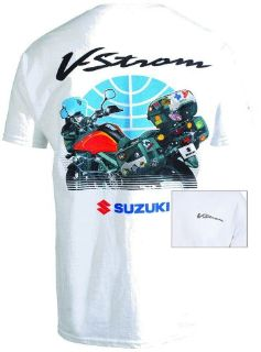 Purchase SUZUKI VSTROM TRAVEL T-SHIRT IN WHITE - SIZE XX-LARGE - BRAND NEW motorcycle in Winchester, Virginia, United States, for US $22.95