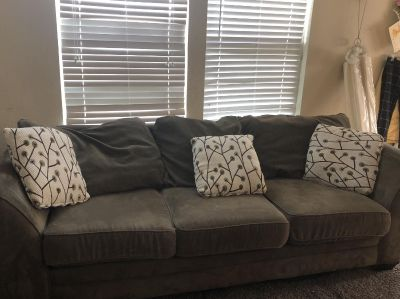 Sage Green Couch and Throw Pillows