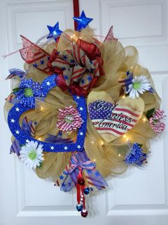 """God Bless America"" Wreath for the 4th of July and Labor day"