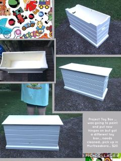 Project Toy Box ... was going to paint and put new hinges on but got a different toy box... needs cleaned.. pick up in Murfreesboro... $20