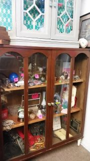 Brown glass cabinet real wood