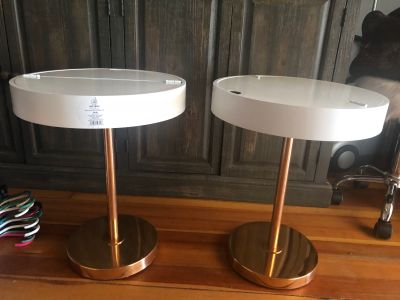 Pair side tables sold as set , price both 20Hx16 across , interior storage compartment