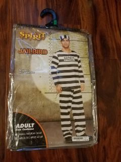 New Mens Jailbird costume/ includes shirt,pants,hat,size Xlg
