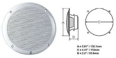 Buy Poly-Planar #Ma4055w - Integral Grill Marine Speaker - 2-Way Coax - 5in Pair Wht motorcycle in Largo, Florida, United States, for US $83.89