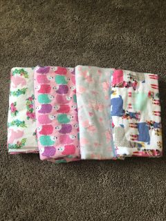 EUC 4 beautiful handmade swaddle/receiving blankets