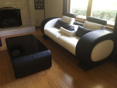 Italian Leather Sofa, Chair, Table and 4 Ottomans