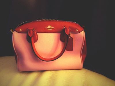 Genuine COACH Pink and Red Leather Handbag