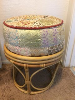 RATTAN STOOL WITH POOF