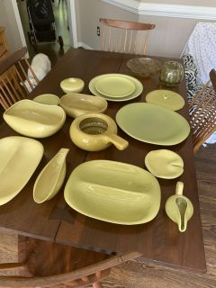 Chartreuse Yellow Russel Wright Mid Century American Modern Dinnerware Set Steubenville